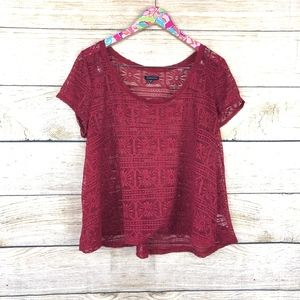 American Eagle Outfitters Tops - American Eagle red crochet/lace top size XL / E07